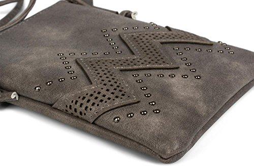 styleBREAKER borsa mini a tracolla con motivo a intaglio a zigzag e borchie, borsa da spalla, borsetta, donna 02012211, colore:Nero Talpa