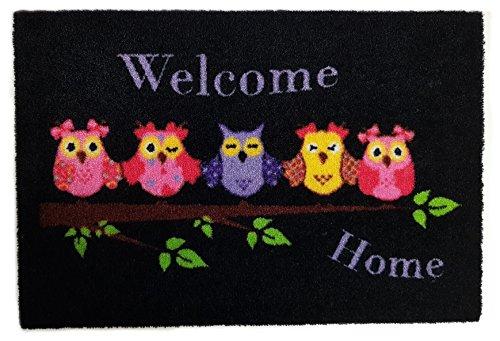 Fußmatte Fußabtreter Fußabstreifer waschbar Schmutzmatte Motiv Design Eule Cat Katze Hund Dog OWL (schwarz-5 Eulen)