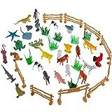 Anpro 44pcs Animales Figuras Pequeñas, Animales Marinos y Animales de Granja Juegos y Figuras para Niños