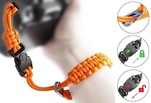 Paracord Kameraschlaufe/Klick-Verschluss mit Sperre/ORANGE/DSLR SLR Kompakt-Kamera Handschlaufe Trageschlaufe Handgelenkschlaufe Armband Schlaufe//von MIND-CARE-ESSENTIALS