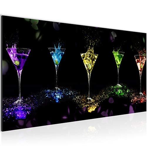 Bilder Martini Gläser Wandbild Vlies - Leinwand Bild XXL Format Wandbilder Wohnzimmer Wohnung Deko Kunstdrucke Bunt 1 Teilig - MADE IN GERMANY - Fertig zum Aufhängen 500812a