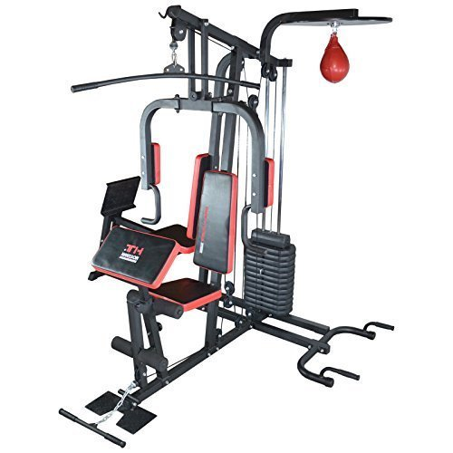 TrainHard® Kraftstation Multistation Fitnessstation inkl. Beinpresse, erweiterbar (optinal): Dipstation, Beinhebe, Sit Up Bank, Stepper, Push Up Bar, Boxsackhalterung, Speedball Plattform. (Kraftstation inkl. Beinpresse + Speedball-Plattform & Push-Up Bar)