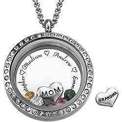 Charm Medaillon - Für Mütter und Großmütter - Personalisiert mit Ihren eigenen Geburtssteinen