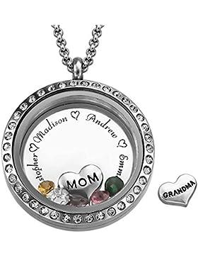 Charm Medaillon - Für Mütter und Großmütter - Personalisiert mit Ihren eigenen 5 Geburtssteinen