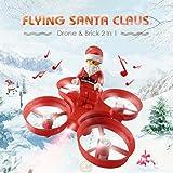 RC Quadcopter Drone JJRC H67 2.4GHz Santa Claus Quadcopter Hubschrauber Weihnachten Spielzeug Fernbedienung Flugzeug mit LED Licht Weihnachten Musik Geschenk für Kinder (Rot)