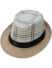 ZARLLE Sombrero Para Sol Gorra Unisex Trilby Gangster Visera De La Correa  Hat Sombrero De Paja De Sol De Playa Gorra De ProteccióN… cf84a715ed4
