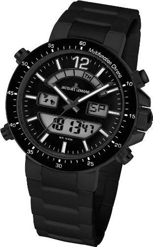Jacques Lemans - 1-1712O - Montre Mixte - Quartz Analogique et digitale - Alarme/Chronomètre - Bracelet Silicone Noir
