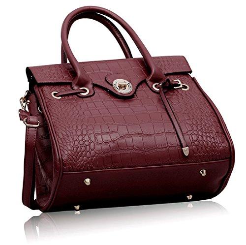 Zarla-Borsa a tracolla da donna in finta pelle di coccodrillo, con chiusura a cartella Viola (viola)