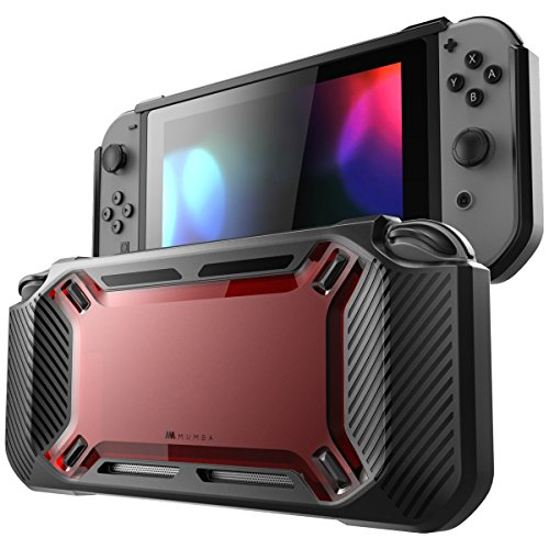 Preisvergleich Produktbild Mumba Nintendo Switch Hülle, [Rugged] Gummiert Case Harte Schutzhülle Schwerlast für die Nintendo Switch 2017 Ausgabe (Schwarz+Rot)