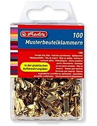 Herlitz Musterbeutelklammer, Metall, Rundkopf, 100 Stück in Hängebox, messing