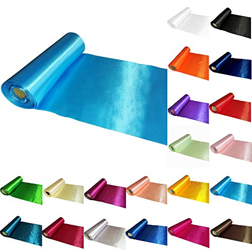 TtS 29CM X 20M Satin Roll Fabric Chemin de Table Noeud Sashes Swags Mariage Ceremonie Fête-Aqua Bleu