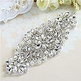 Handmade Crystal Parches Rhinestone Applique para el marco nupcial y cinturones (plata clara)
