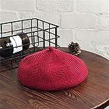 Lczhouou Alcuni rosso festa cappello di Natale - cappello sveglio femminile di autunno e l'inverno protezione lavorata a maglia berretto cappello (Color : Burgundy wool knit beret)
