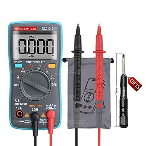 Nktech Nk-51d True RMS rétroéclairage Auto Gamme Palm multimètre numérique Température AC DC Volt courant résistance Capacitance fréquence diode continuité Cycle au mètre 6000fils