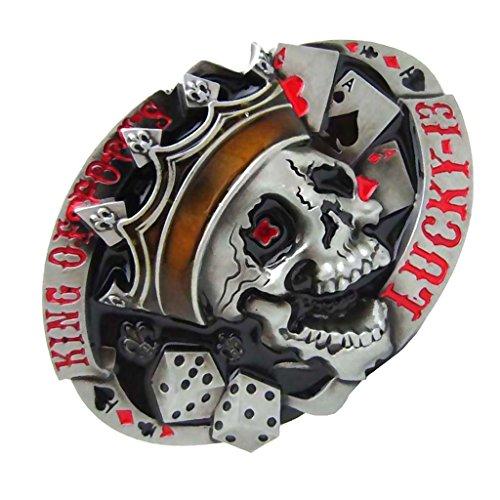 P Prettyia Hebillas de Cinturón de Pantalones Ocasionales Ocasionales de Hombre Aleación Patrón de Esqueleto Estilo Gótico - rojo, como se describe