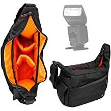 DURAGADGET Bandolera Para Flash YONGNUO YN-568EX YN568 / APEMAN E-TTL / K&F Concept KF570 / Yongnuo YN-568EX II / Yongnuo YN565EX / Neewer NW-561 - Correa De Hombro Ajustable - Compartimentos Interiores