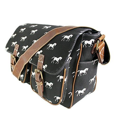 Miss Lulu tela gufo, farfalla, elefante, cavallo, cupcake pattern design Satchel saddle messenger a tracolla in tela cerata e - Horse Black (Canvas)