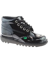 ba3386a6 Kickers Ladies Girls Leather Black Kick Hi School Shoes KF0000120 Size UK  3-8