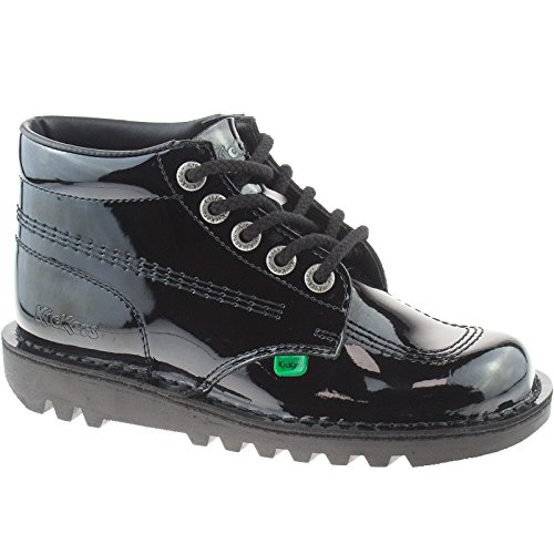 LADIES GIRLS LEATHER KICKERS BLACK KICK HI SCHOOL SHOES KF0000120 SIZE UK...