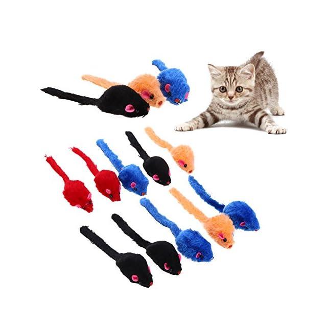 Domybest 10pcs/lot Mini coloré Chat Jouets en peluche Faux Jouets souris pour chat chaton