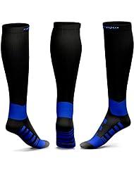 KKUP2U Calcetines de Compresión, Graduado Compresión 20-30mmHg Para Deportes, Viajes en Avión, Enfermeras, Running - Aumento de rendimiento, Recuperación Rápida, Mejor Circulación Sanguínea -Azul L