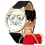NdB 1287 - [GATTO NERO] Orologio Donna da Polso - Con cinturino regolabile a 6 fori - Quarzo - In Sacchetto vellutato Rosso e Oro - Regalo perfetto