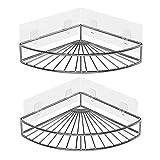 Oriware Adhésif Étagère d'angle Serviteurs de Douche Salle-de-Bains Triangulaire pour Rangement Acier Inoxydable sans Percer - Lot De 2