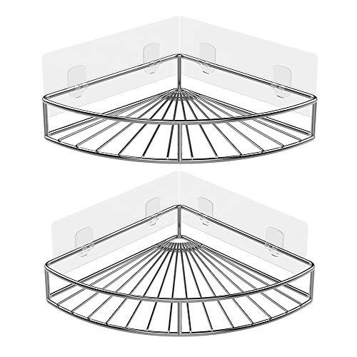 Oriware Eckablage Duschkörb Ablage Selbstklebend Wandablage Badezimmer Caddy SUS304 Edelstahl Badregal Ohne Bohren - 2 Stück - Traditionelle Badezimmer Halterung