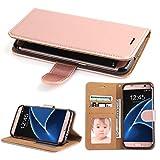 Coque Galaxy S7 Edge, SOWOKO Samsung S7 Edge Housse en Cuir Premium Flip Case Portefeuille Etui pour Samsung Galaxy S7 Edge (Rose Gold)