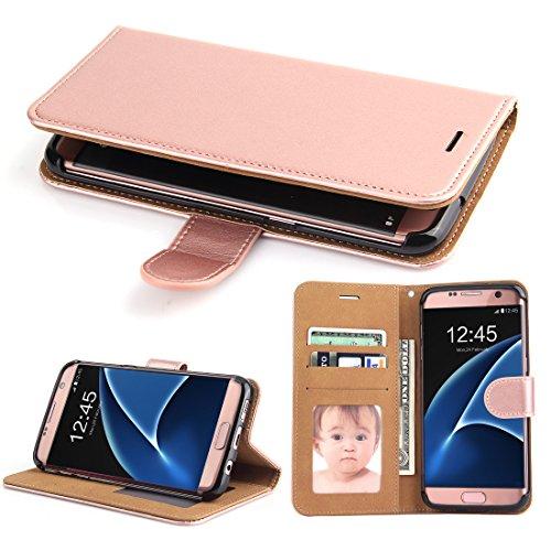 Galaxy S7 Edge Tasche,SOWOKO Hülle Schutz Schale Brieftasche Case für Samsung Galaxy S7 Edge Leder Etui Bookstyle mit Kartenfächer und Standfunktion - Rose Gold