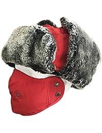 Sombrero a prueba de viento,QMFIVE Sombreros de calientes de invierno Unisex con orejera y máscara de boca al aire libre Escudo de cara para caza Bomber Pilot Snow Ski