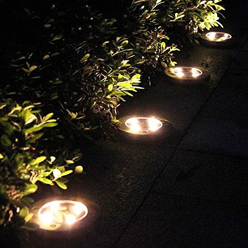 Tomshine 4pcs Solarbetriebene LED Bodeneinbauleuchte Außenleuchte Wasserdicht 4 LED 40LM Pfad Garten Landschaft Spike Beleuchtung für Hof Auffahrt Rasen Weiß / Warm Weiß - 3