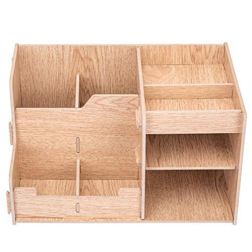 Braun Multi-funktions-stoff (WEAO Holz DIY Kreativität Desktop Storage Box Multi-Layer-Kombination Multi-Funktions-Desktop-Speicher/File Frame/Datei-Halter, Holz-Farbe)