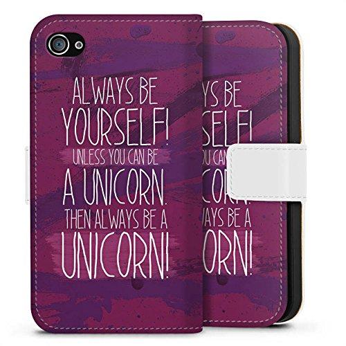 Apple iPhone X Silikon Hülle Case Schutzhülle Einhorn Unicorn Lustig Sideflip Tasche weiß
