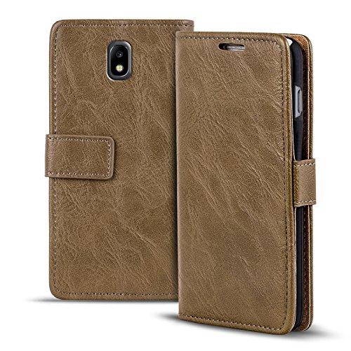 Verco Galaxy J7 (2017) Hülle, Premium Handy Schutzhülle für Samsung Galaxy J7 Hülle PU Leder Wallet Tasche Retro Flipcase, Mocca