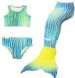 FANCYINN Mädchen Meerjungfrau Bademode 3er Badeanzug Cosplay Kostüm Bikini-Sets Flosse Blau gestreift 150