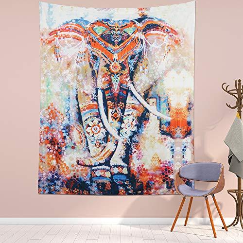 Lomohoo Tapicería Elefante Algodón Suave Boho Indio Elefante Tapiz Vistoso Arte Psicodélico...
