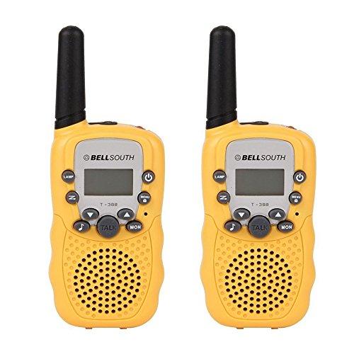GuDoQi® Walkie Talkies Enfants Longue Portée 8 Canaux Radios Bidirectionnelles Avec Éclairage LED 2 Pcs Jaune