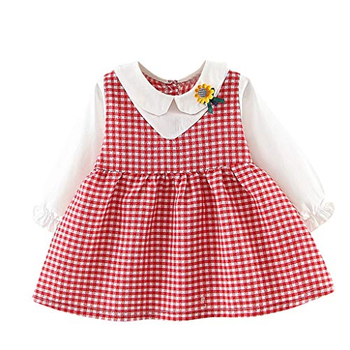 Plaid Tutu (DIASTR Neugeborenes Säuglingsbaby-mädchen-Lange Hülse Fake Two Dress Plaid Sunflower Tutu Princess Party Kleidung 12 Monate Dress Clothes Outfits)
