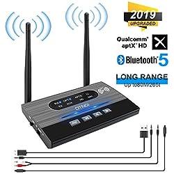 Receptor transmisor Bluetooth 5.0 Plus, Adaptador Bluetooth de Baja latencia aptXHD inalámbrico 3 en 1, Adaptador Audio en Bluetooth 265 Ft 3,5 mm para Auto estéreo / TV / Sistema de Sonido doméstico
