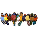 Fluss von Waren 9.25H Tiffany-Stil gebeizt Glas Birds on a Wire Fenster Panel
