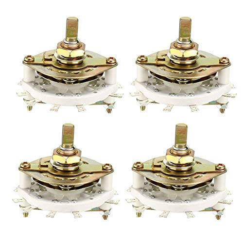 ZCHXD 2P4T 2 Pole 4 Position 1 Deck Band Channel Rotary Switch Selector 4PCS -
