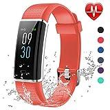 Lintelek Fitness Armband,Fitness Tracker mit Pulsmesser 0,96 Zoll Farbdisplay Fitness Uhr Armband Uhr Schlafmonitor Aktivitätstracker 14 Trainingsmodi Vibrationsalarm GPS (Rot) MEHRWEG