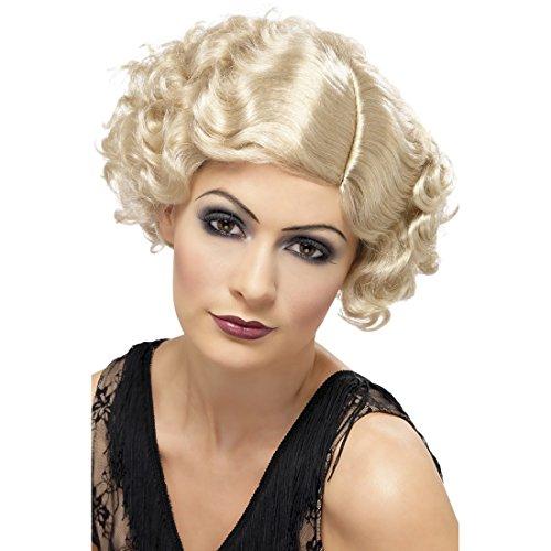Sexy Kostüm Flirty Flapper - Amakando 20er Jahre Perücke Charleston Damenperücke blond Merilyn Faschingsperücke Star Karnevalsperücke Diva Kunsthaarperücke Flapper Kostüm Haare