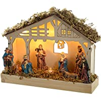 werchristmas pre lit christmas wooden nativity scene decoration illuminated with 5 led 26