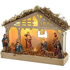 Idea Regalo - WeRChristmas, Presepe decorativo in legno, illuminato con 5 lucine LED (luce bianca calda), 26,3 x 7,3 x 19,2 cm