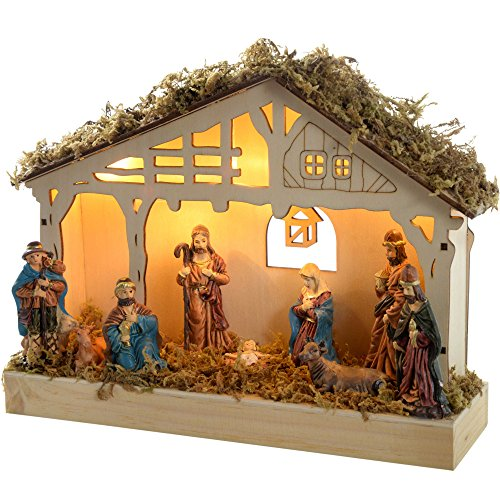 Werchristmas, presepe decorativo in legno, illuminato con 5 lucine led (luce bianca calda), 26,3 x 7,3 x 19,2 cm