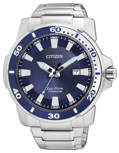 Citizen AW1220-54L – Reloj analógico de cuarzo para hombre, correa de titanio multicolor