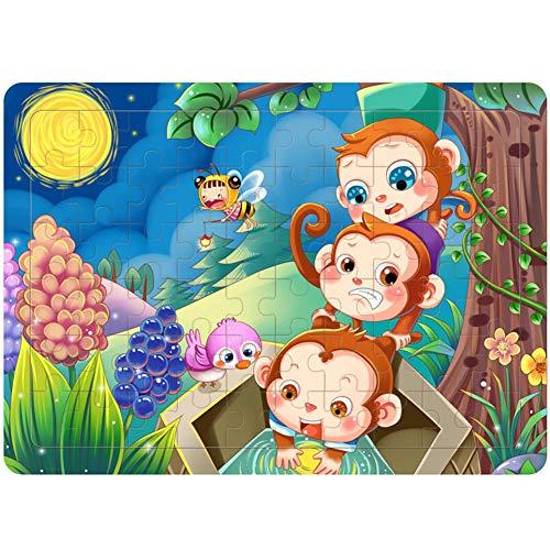 ETbotu Pädagogisches Puzzle,40/60 Teile / Satz Baby Holz Spielzeug für Jungen und Mädchen 60 Stück / Set Affen, die nach dem Mond fischen 60 Teile
