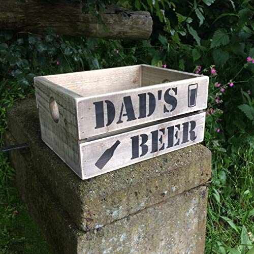 The Handmade Furniture Company Dads Beer Crate Dad Gift 6 Colours Vintage Grey Blue Pink Green White Brown Personalise for Free